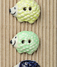 5 Large pastel hedgehogs buttons
