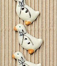 5 White geese buttons