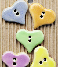 5 Large pastel heart buttons