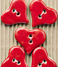 5 Large red heart buttons