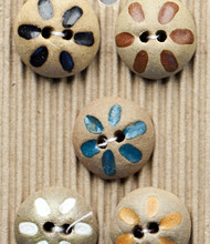 5 Flower Buttons Clay buttons handpainted in South Africa