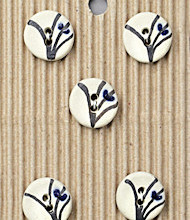 5 Small white buttons with blue flowers