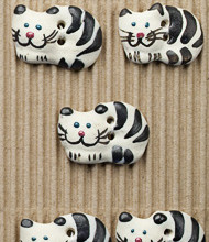 k and white cat buttons