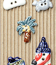 5 tropical buttons - lighthouse, palm tree, puffy white cloud, boat, crab