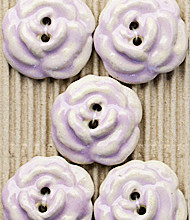 5 Large pink flower roses buttons