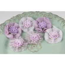 purple fabric flower blooms