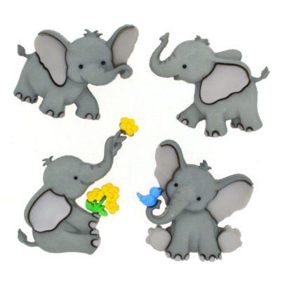 Tiny Trunks Elephants Buttons