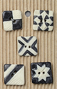 black and white square buttons