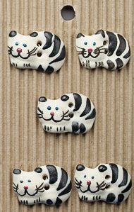 black and white cat buttons