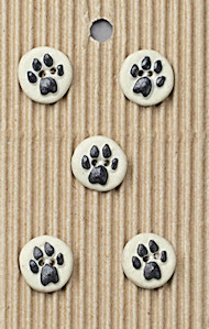 small black and white paw print buttons